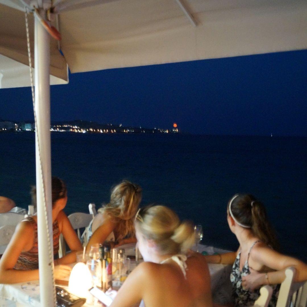 Moonlight at Zorbas Seaside Restaurant